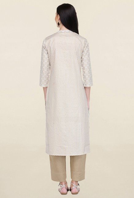 Varanga Off White Printed Cotton Straight Kurta