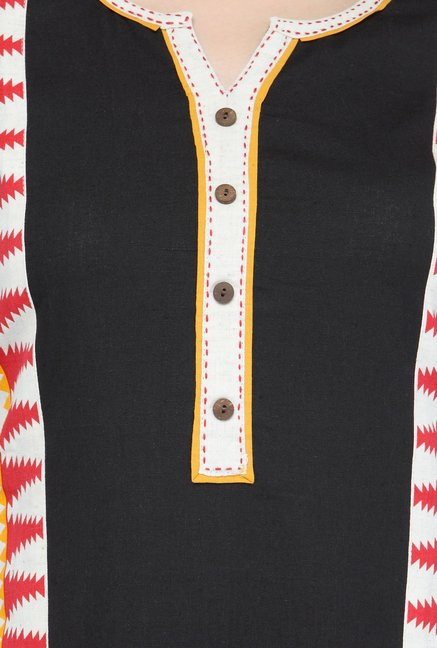 Varanga Black & Red Printed Flex Kurta With Palazzo