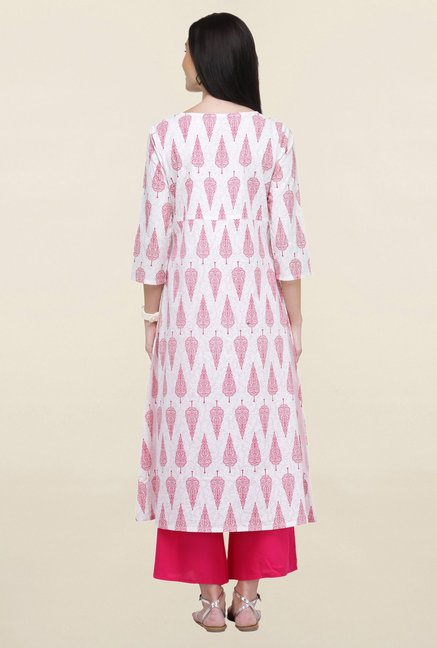 Varanga White & Pink Printed Cotton Kurta With Palazzo