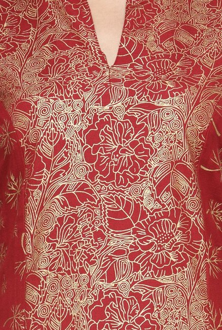 Varanga Red Printed Flex Straight Kurta