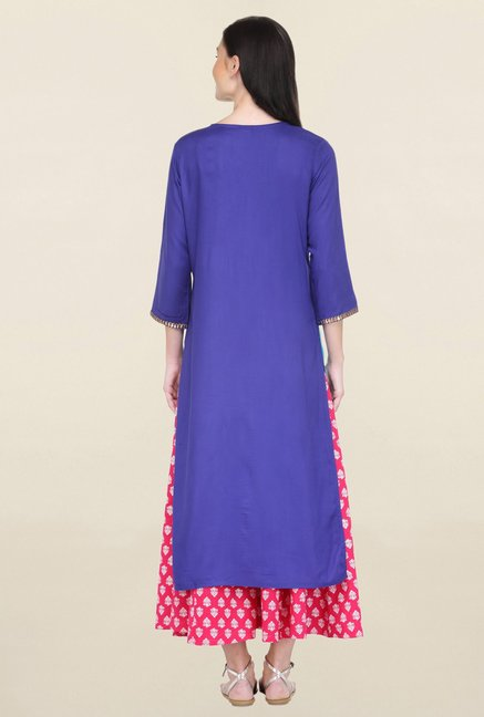 Varanga Blue Embroidered Rayon Straight Kurta