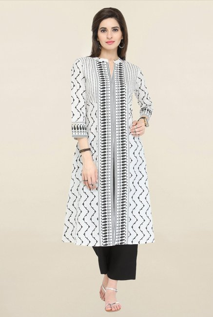 Varanga White & Black Printed Cambric Kurta With Palazzo