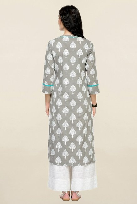 Varanga Grey Printed Cotton Straight Kurta