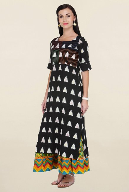 Varanga Black & Yellow Printed Rayon Kurta With Palazzo