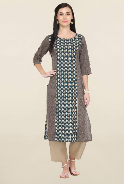Varanga Grey Printed Cambric Straight Kurta