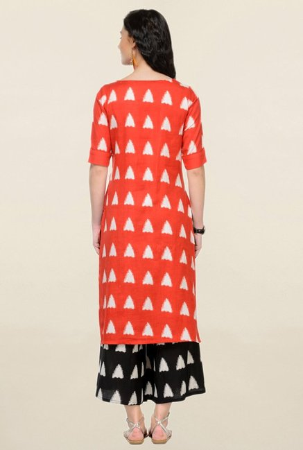 Varanga Red & Black Printed Rayon Kurta With Palazzo