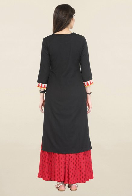 Varanga Black Printed Flex Straight Kurta