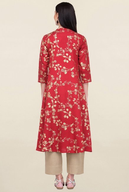 Varanga Red & Beige Printed Rayon Kurta With Palazzo