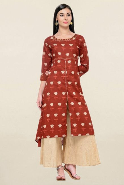 Varanga Maroon Printed Cotton Curved Kurta