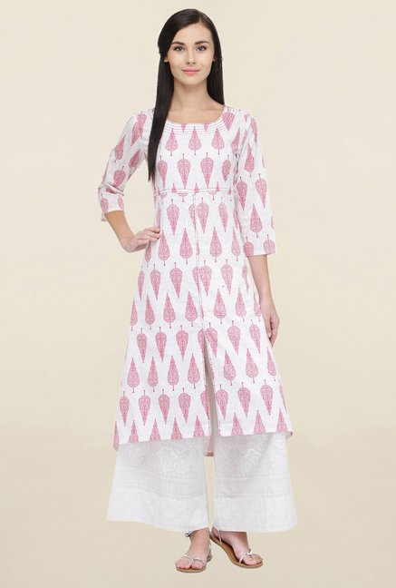Varanga White & Off White Printed Cotton Kurta With Palazzo