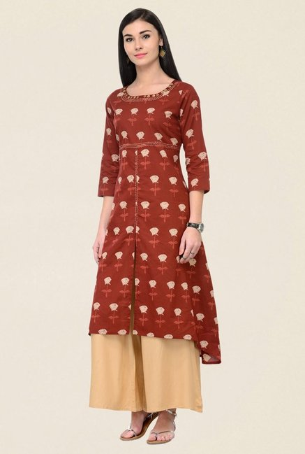 Varanga Brown & Beige Printed Cotton Kurta With Palazzo