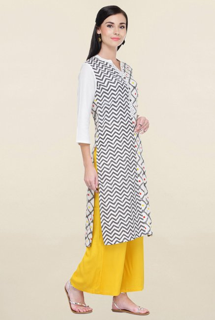 Varanga White & Yellow Printed Rayon Kurta With Palazzo