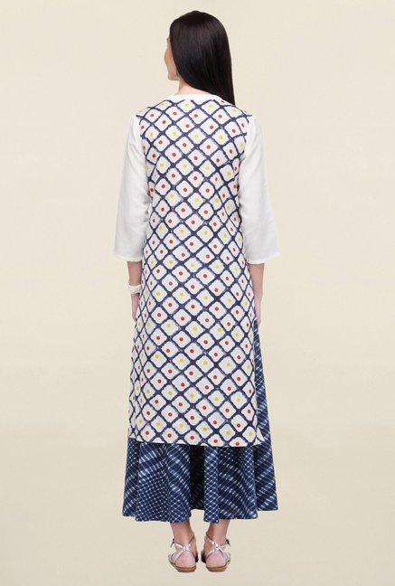 Varanga White & Blue Printed Flex Rayon Straight Kurta
