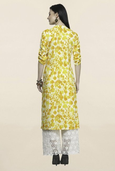 Varanga Yellow Printed Rayon Straight Kurta