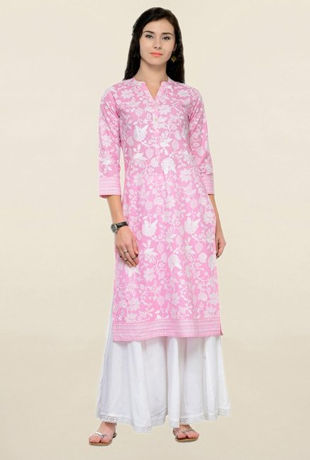 Varanga Pink & White Printed Cotton Kurta With Palazzo