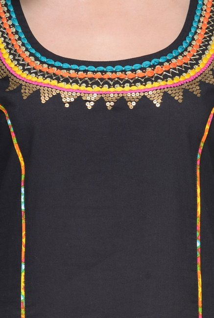 Varanga Black & Yellow Embroidered Cotton Kurta With Palazzo