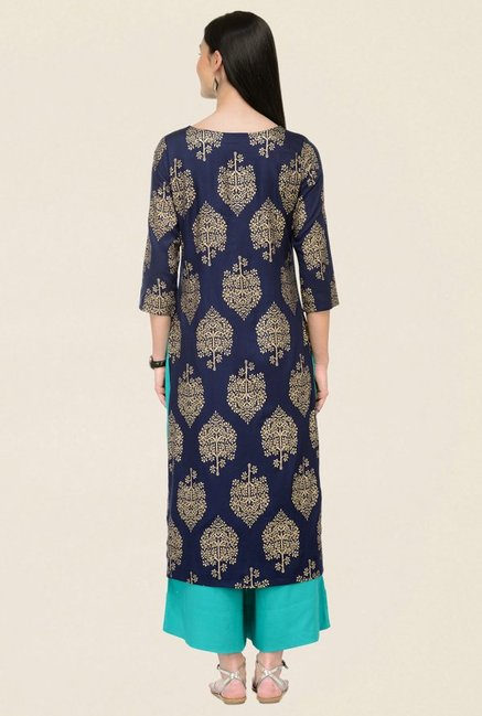 Varanga Navy & Teal Printed Rayon Kurta With Palazzo