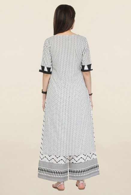 Varanga Off White Printed Cambric Kurta With Palazzo