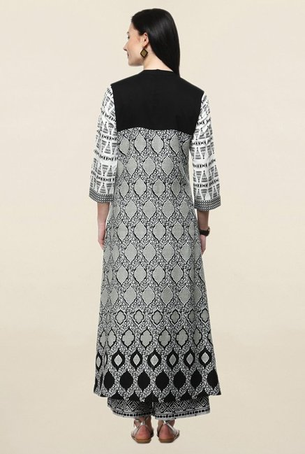 Varanga White & Black Printed Rayon Curved Kurta