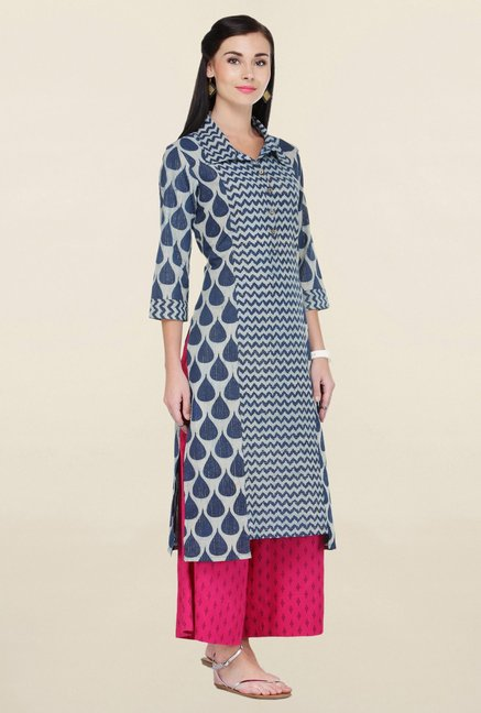 Varanga Navy & Pink Printed Cotton Kurta With Palazzo