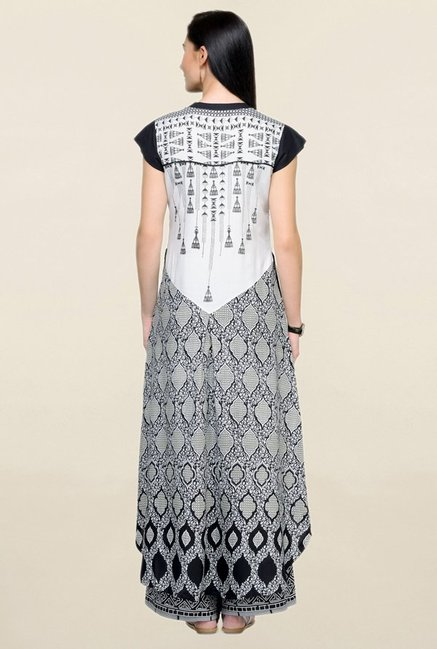Varanga White & Black Printed Rayon Kurta With Palazzo