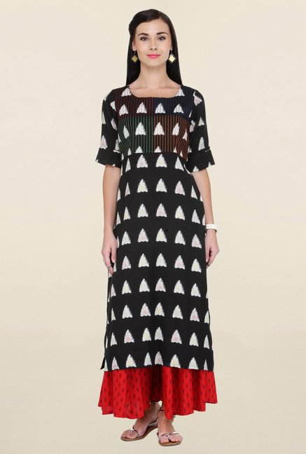 Varanga Black & Red Printed Rayon Kurta With Palazzo