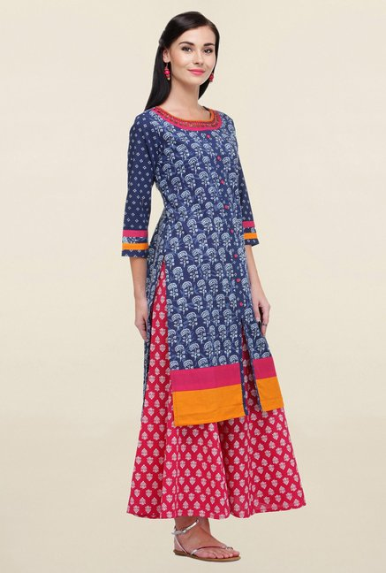 Varanga Blue & Pink Printed Cotton Kurta With Palazzo