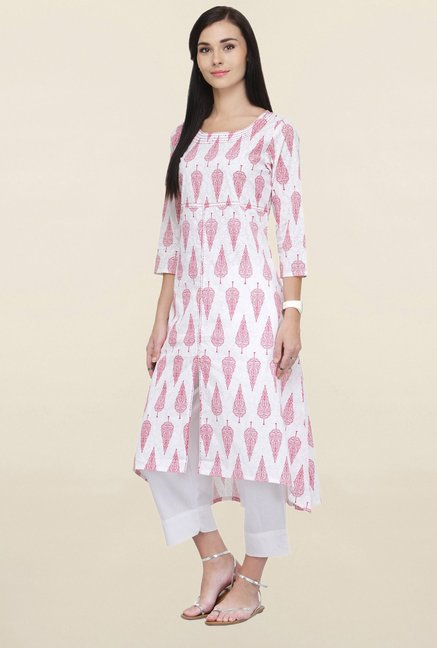 Varanga White Printed Cotton Kurta With Palazzo
