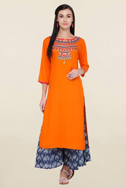 Varanga Orange Embroidered Rayon Straight Kurta