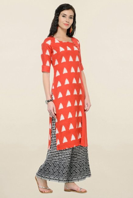 Varanga Red Printed Cotton Straight Kurta