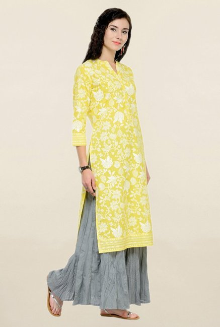 Varanga Yellow & Grey Printed Cotton Kurta With Palazzo