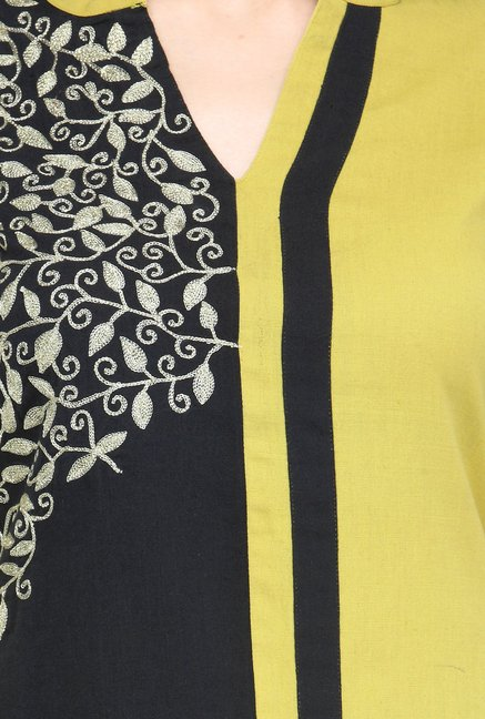 Varanga Lime & Black Embroidered Flex Kurta With Palazzo