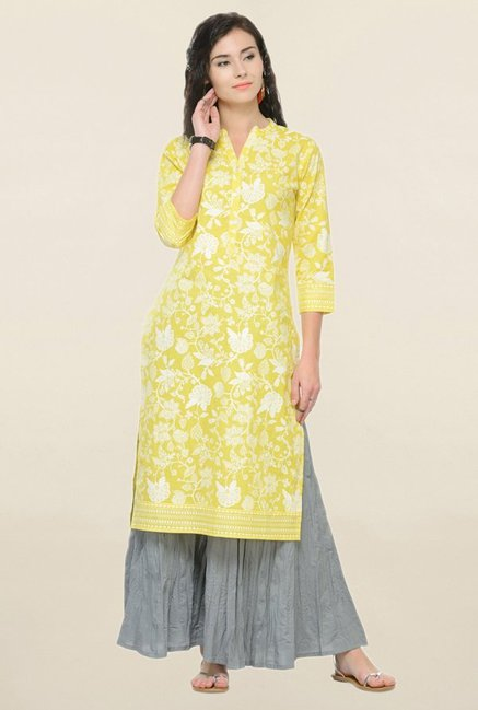 Varanga Yellow Printed Cotton Straight Kurta