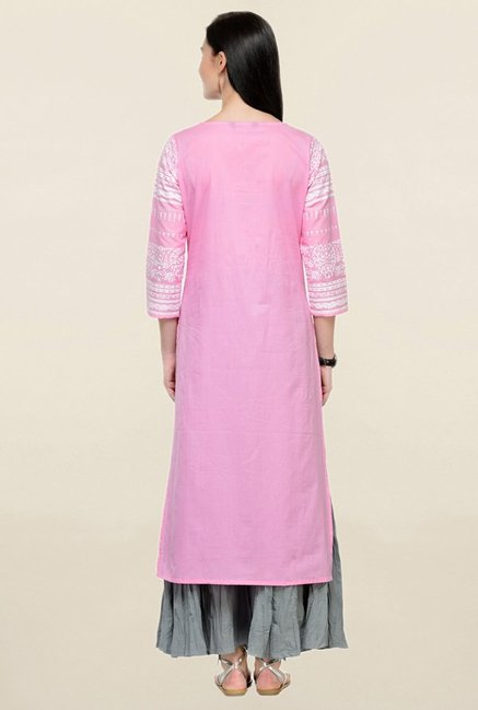 Varanga Pink & Grey Printed Cotton Kurta With Palazzo