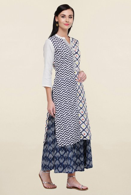 Varanga White & Navy Printed Rayon Kurta With Palazzo