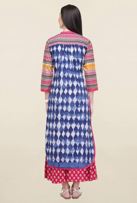 Varanga Blue Printed Cotton Straight Kurta