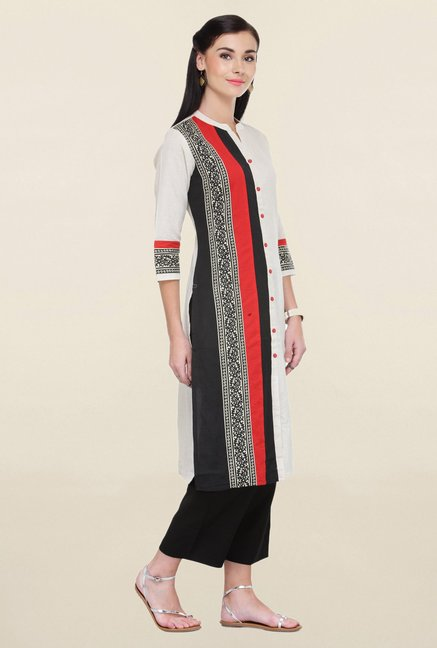Varanga Off White & Black Printed Rayon Kurta With Palazzo