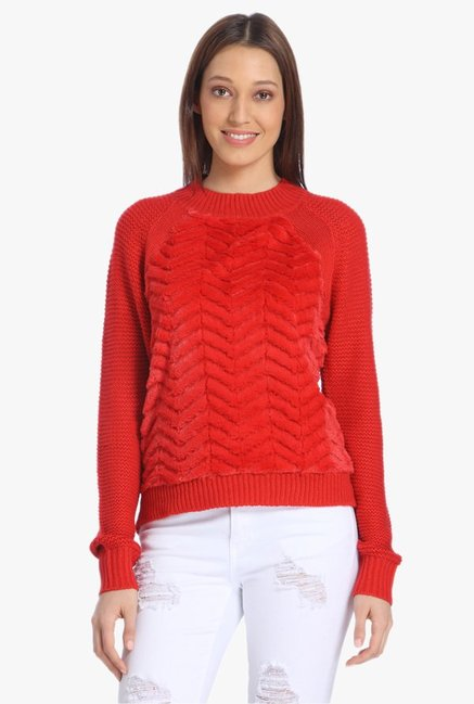 Vero Moda Red Mock Collar Pullover