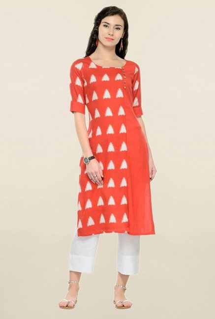 Varanga Red & White Printed Rayon Kurta With Palazzo