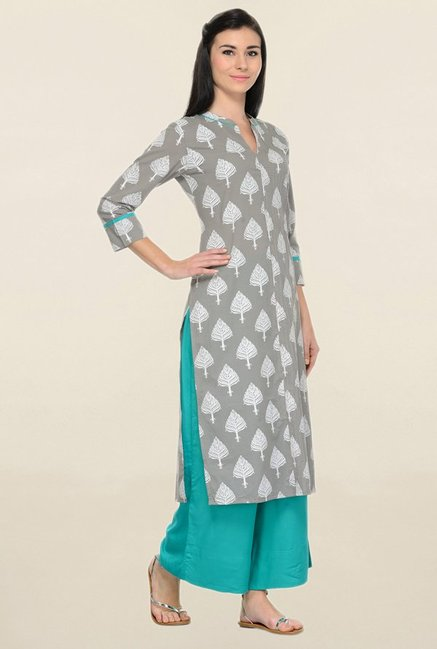Varanga Grey & Teal Printed Cotton Kurta With Palazzo