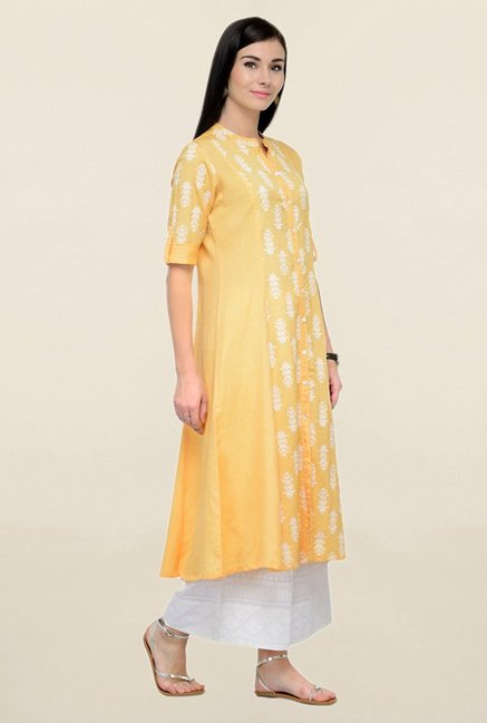 Varanga Yellow & White Printed Rayon Kurta With Palazzo