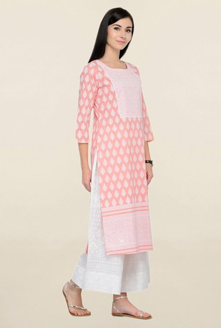 Varanga Peach Printed Cotton Straight Kurta