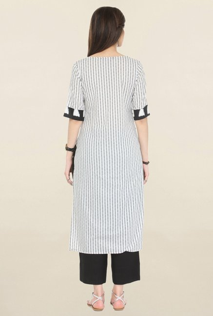 Varanga Off White & Black Printed Cambric Kurta With Palazzo