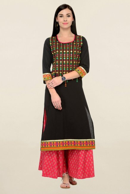 Varanga Black & Pink Embroidered Cotton Kurta With Palazzo