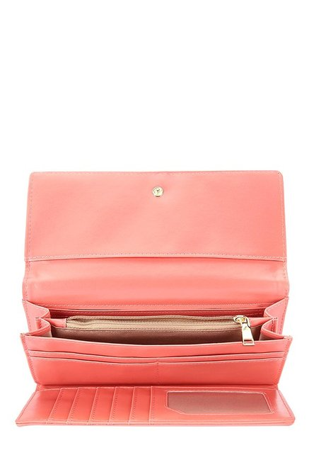 Caprese Augustina Coral Pink Solid Tri-Fold Wallet