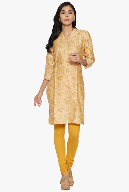 Globus Beige Printed Cotton Kurta