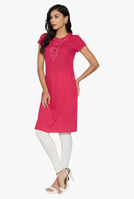 Globus Pink Printed Cotton Kurta