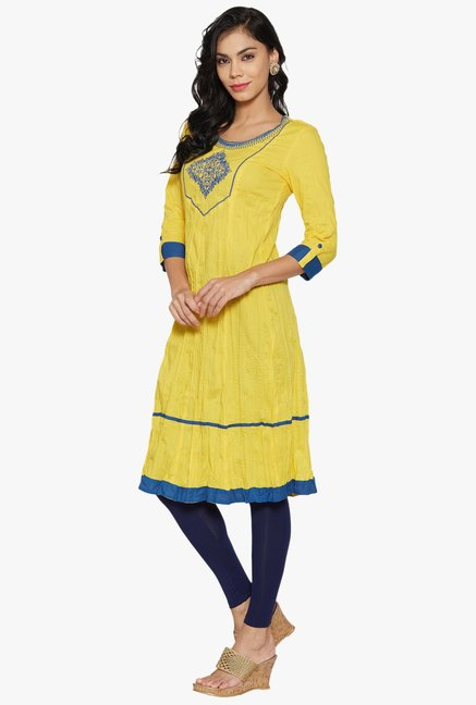 Globus Yellow Embroidered Cotton Kurta