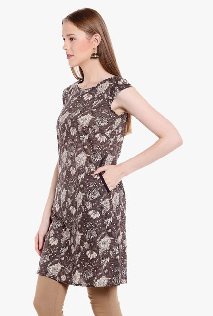 Globus Brown Printed Cotton Kurti