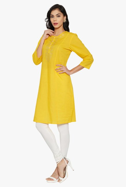 Globus Yellow Printed Cotton Kurta